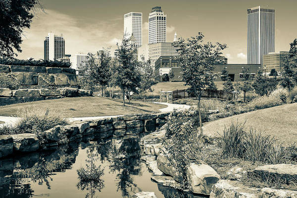 Photograph - Downtown Skyline Of Tulsa Oklahoma - Sepia Edition by Gregory Ballos