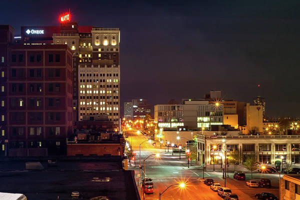Photograph - Downtown Tulsa Oklahoma Night Cityscape And Mayo Hotel by Gregory Ballos