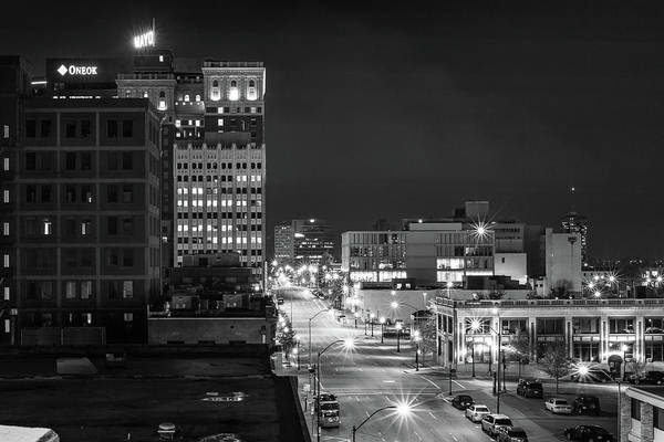 Photograph - Downtown Tulsa Oklahoma Night Cityscape And Mayo Hotel - Monochrome by Gregory Ballos
