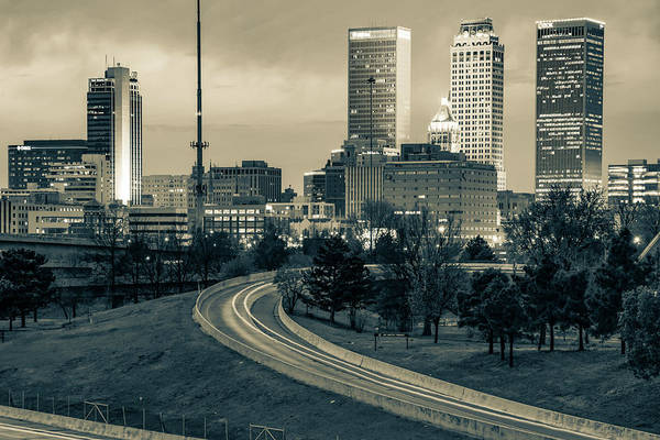 Photograph - Downtown Tulsa Skyline - Sepia Cityscape by Gregory Ballos