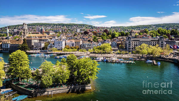 Photograph - Downtown Zurich, Along The Limmat, Switzerland by Lyl Dil Creations