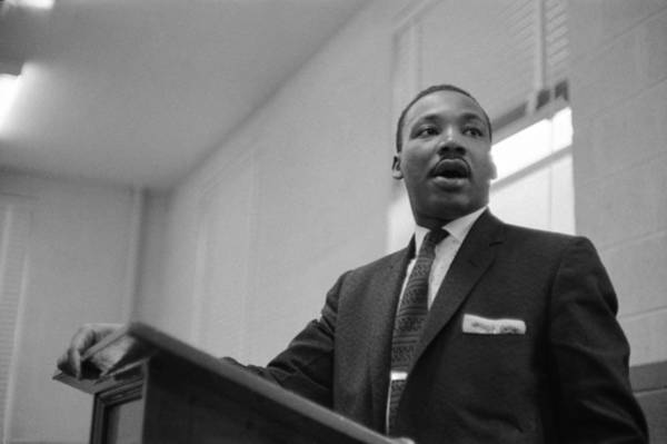 Human Interest Photograph - Dr. King Addresses Meeting by Robert W. Kelley