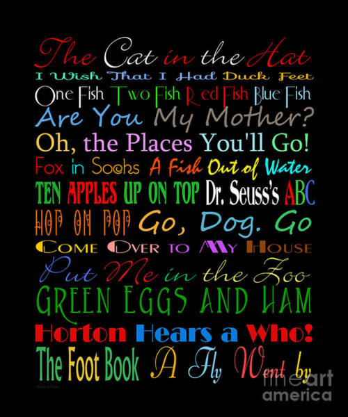 Cat In The Hat Wall Art - Digital Art - Dr Seuss Books 1 by Andee Design