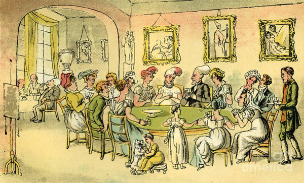 Pokes Wall Art - Drawing - Dr Syntax At A Card Party by Thomas Rowlandson