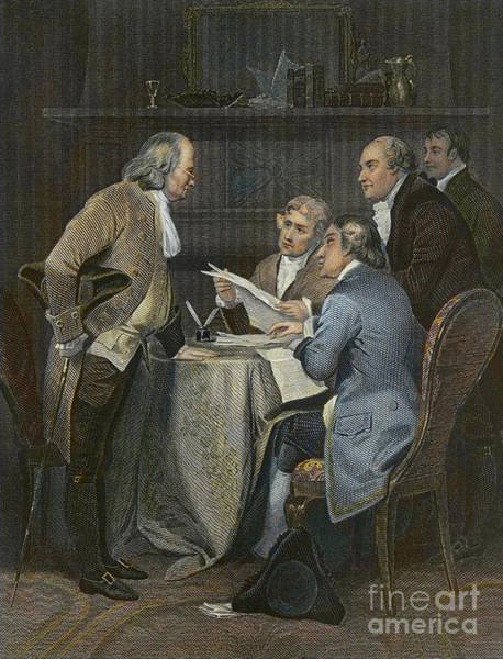Wall Art - Painting - Drafting The Declaration Of Independence In 1776  by American School