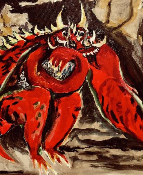 Wall Art - Painting - Dragon A La Rodin by Kathy Hauge