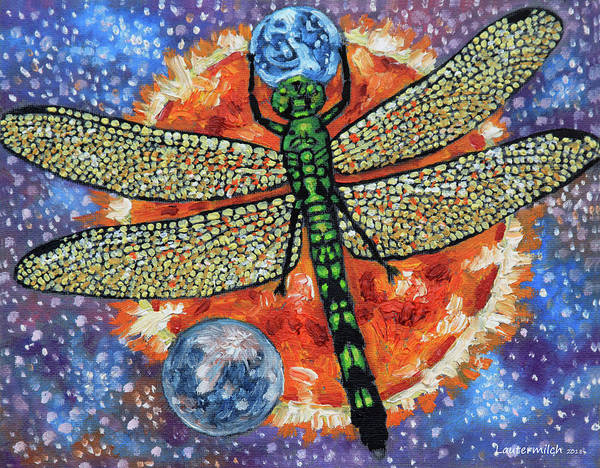 Dragon Fly Painting - Dragon Fly Holding Earth by John Lautermilch