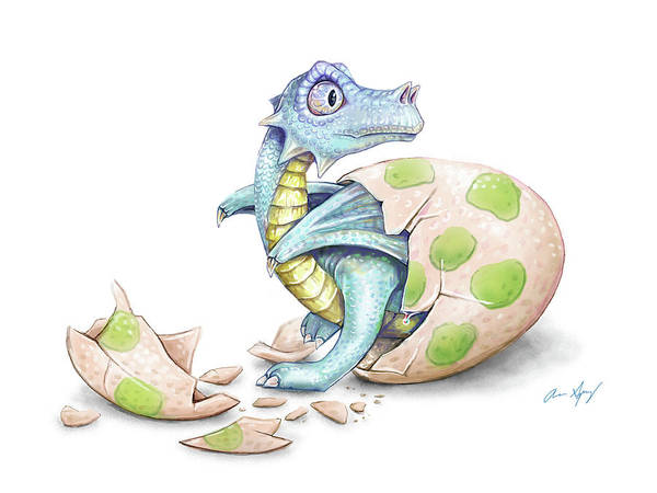 Wall Art - Digital Art - Dragon Hatchling by Aaron Spong