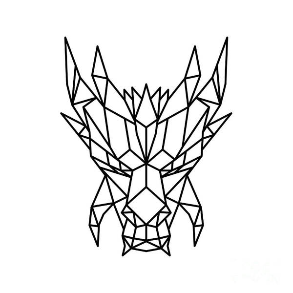 Wall Art - Digital Art - Dragon Head Front Low Poly Black And White by Aloysius Patrimonio