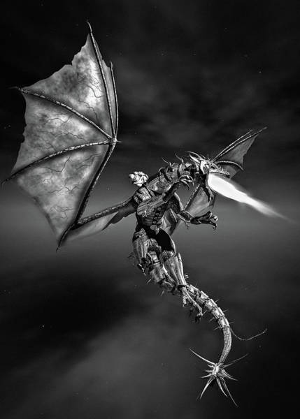 Digital Art - Dragon Rider Bw by Bob Orsillo