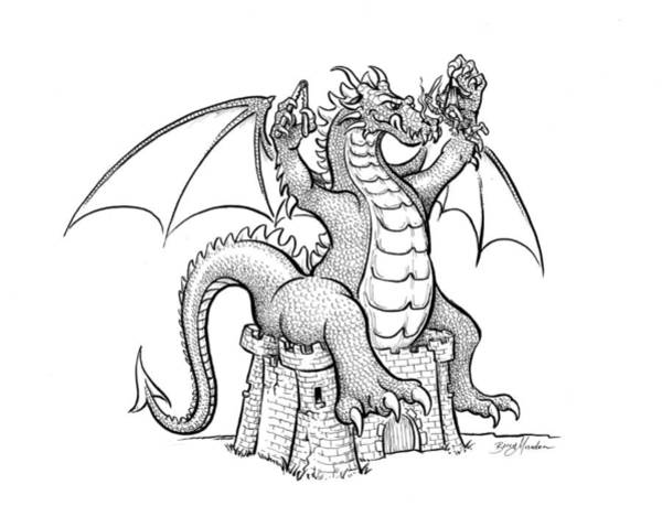 Drawing - Dragon Snack by Barry Munden