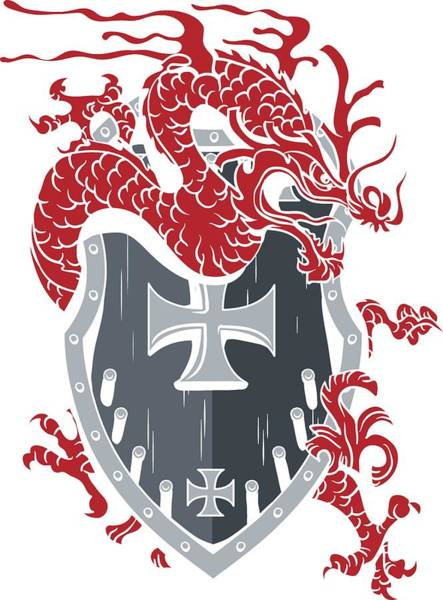Digital Art - Dragon Surrounding A Heraldic Shield by Passion Loft