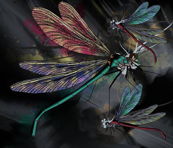 Wall Art - Drawing - Dragonflies Whimsy by Joan Stratton