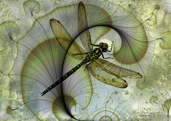 Wall Art - Mixed Media - Dragonfly On Factal by Kira Bodensted