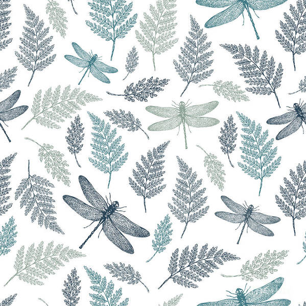 Herbal Wall Art - Digital Art - Dragonfly Seamless Pattern. Fern by Adehoidar