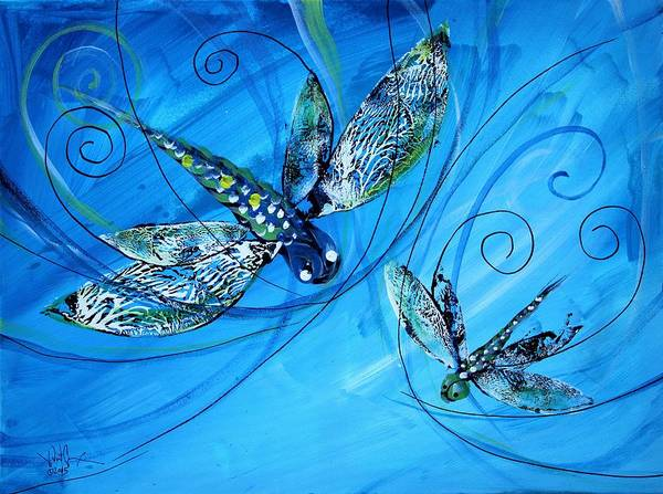 Painting - Dragonfly Two In Blue by J Vincent Scarpace