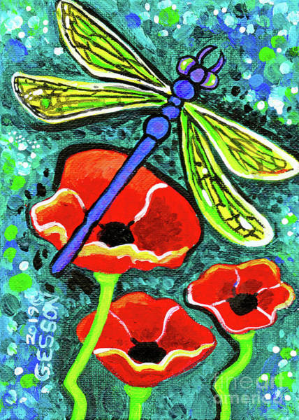 Wall Art - Painting - Dragonfly With Red Poppies by Genevieve Esson