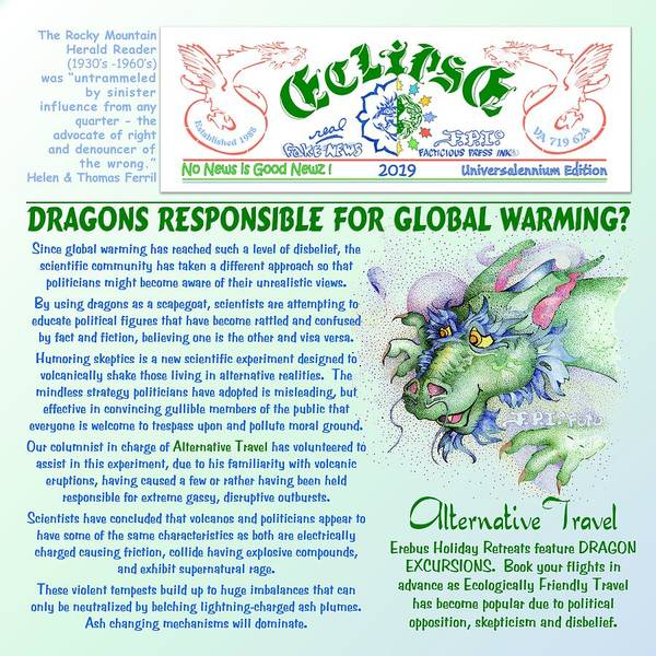 Digital Art - Dragons Cause Global Warming by Dawn Sperry