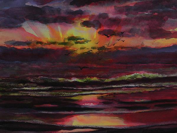 Painting - Drama Sunrise With Birds By Julianne Felton by Julianne Felton