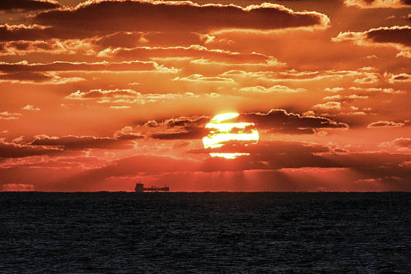 Photograph - Dramatic Atlantic Sunrise With Ghost Freighter by Bill Swartwout Photography