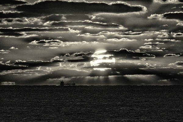 Photograph - Dramatic Atlantic Sunrise With Ghost Freighter In Monochrome by Bill Swartwout Photography