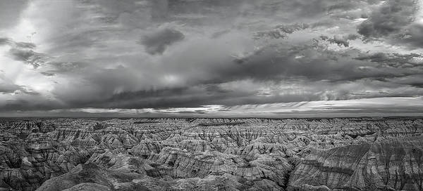 Wall Art - Photograph - Dramatic Badlands Clouds Bw by Joan Carroll