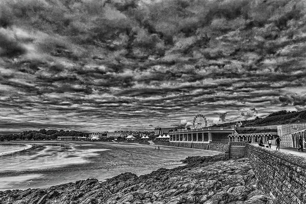 Photograph - Dramatic Barry Island Monochrome by Steve Purnell