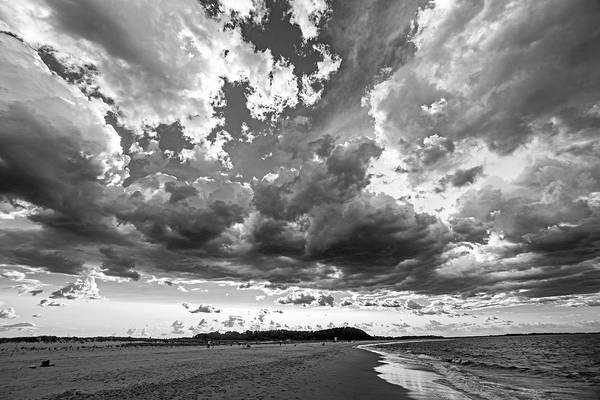Photograph - Dramatic Clouds Over Crane Beach Ipswich Ma Black And White by Toby McGuire