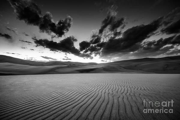 Wall Art - Photograph - Dramatic Sky Over Desert Dunes Black by Kris Wiktor