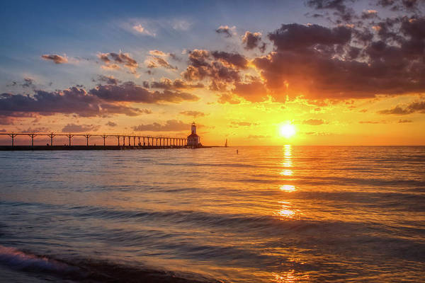 Photograph - Dramatic Sunset At Michigan City East Pierhead Lighthouse by Andy Konieczny