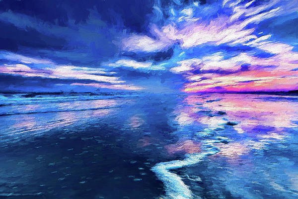 Wall Art - Painting - Dramatic Sunset On Sunset Beach Ap by Dan Carmichael