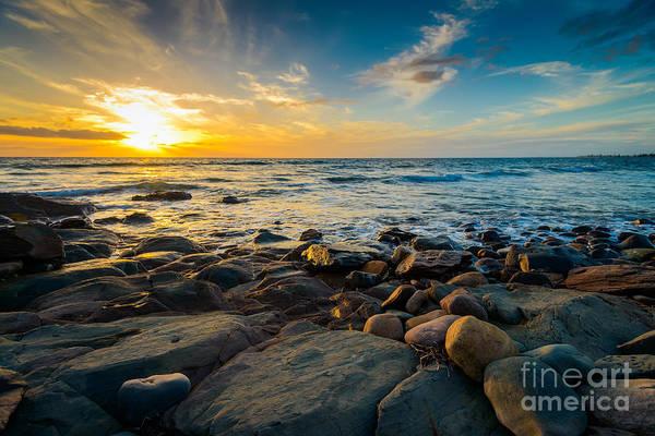 Tourism Wall Art - Photograph - Dramatic Sunset On The Rocky Beach by Amophoto au