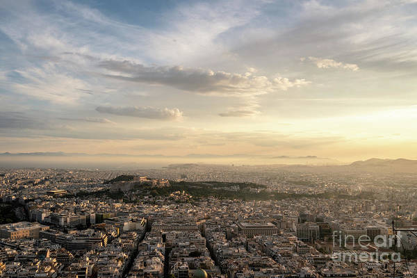 Photograph - Dramatic Sunset Over Athens And Acropolis by Didier Marti