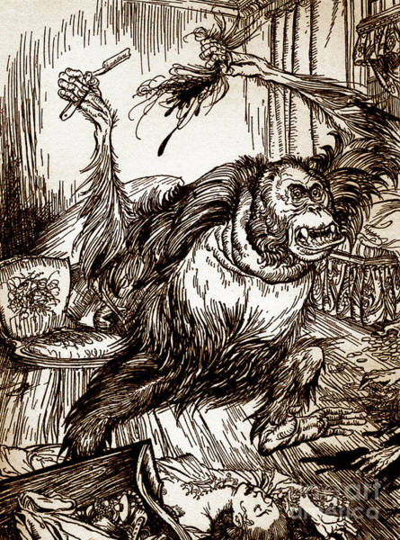 Crazy Drawing - Drawing From Murder In The Rue Morgue By Edgar Allan Poe by Arthur Rackham