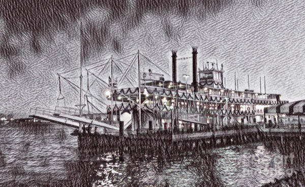 Mississippi River Drawing - Drawing Of New Orleans Natchez  by John Malone