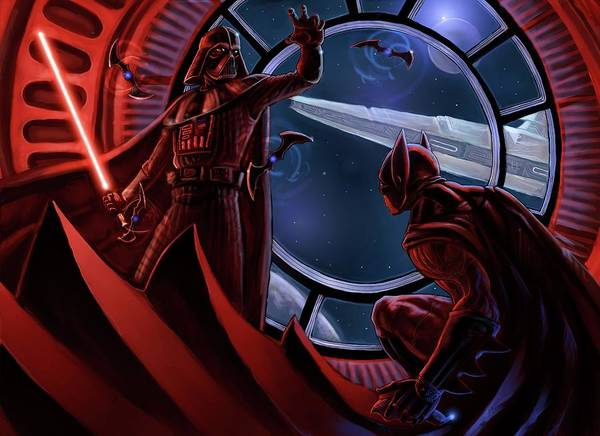Wall Art - Digital Art - Drawn Darth-vader Epic Batman by Geek N Rock