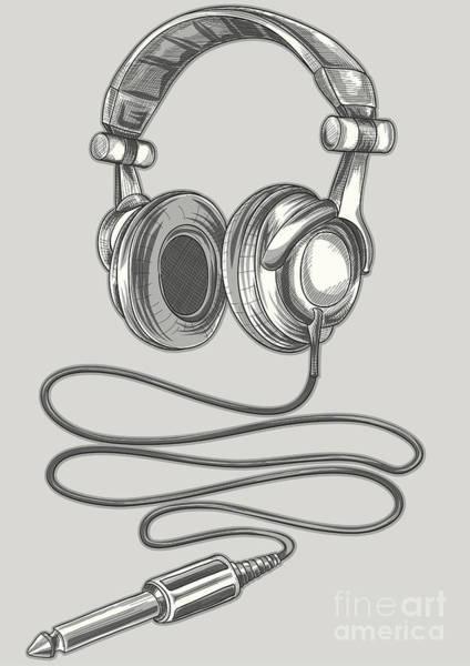 Wall Art - Digital Art - Drawn Headphones & Jack by Alex bond