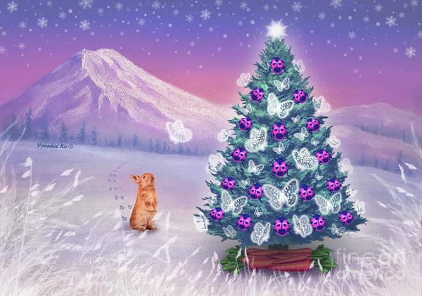 Mount Rainier Painting -  Dream Christmas Tree by Yoonhee Ko