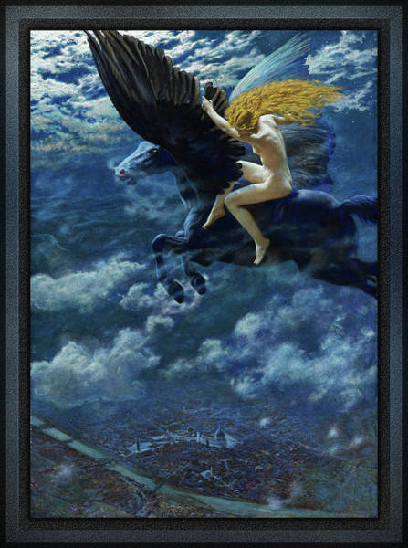 Painting - Dream Idyll A Valkyrie By Edward Robert Hughes  by Xzendor7
