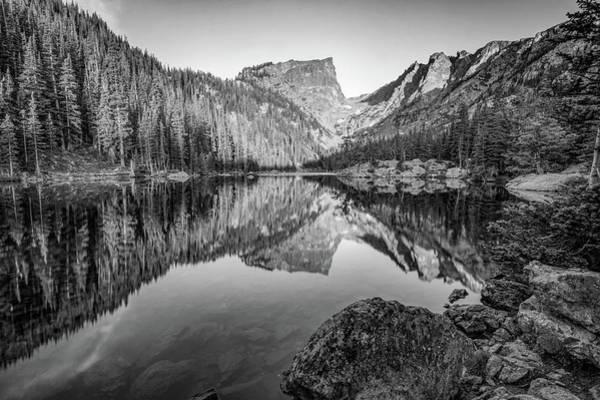 Photograph - Dream Lake Monochrome Mountain Landscape Reflections by Gregory Ballos