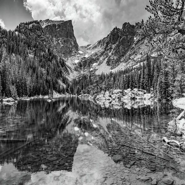 Wall Art - Photograph - Dream Lake Mountain Landscape 1x1 - Rocky Mountain National Park In Monochrome by Gregory Ballos