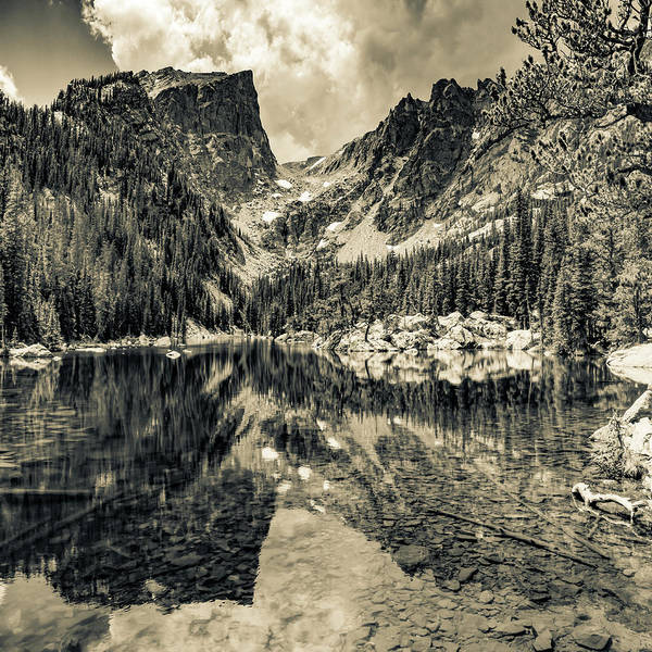 Wall Art - Photograph - Dream Lake Mountain Landscape 1x1 - Rocky Mountain National Park In Sepia by Gregory Ballos