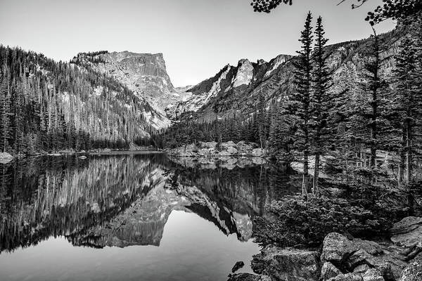 Photograph - Dream Lake Rocky Mountain Landscape In Black And White by Gregory Ballos