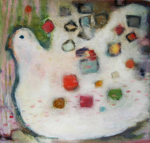Roost Painting - Dreaming Hen by Jan Zoya