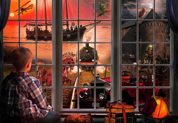 Digital Art - Dreaming Of Adventure At Sunset by Debra and Dave Vanderlaan