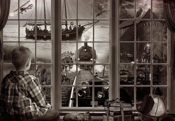 Digital Art - Dreaming Of Adventure In Sepia  by Debra and Dave Vanderlaan