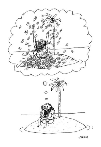 Money Drawing - Dreaming On A Deserted Island by Edward Steed