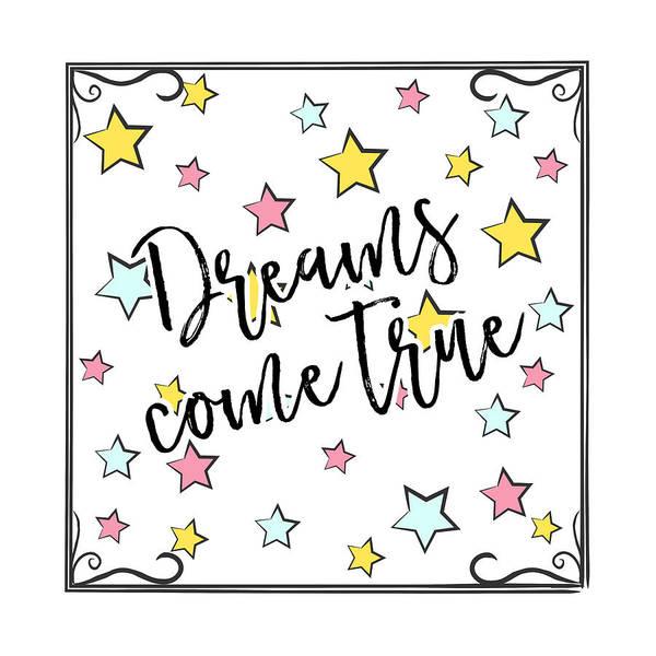 Drawing - Dreams Come True - Baby Room Nursery Art Poster Print by Dadada Shop