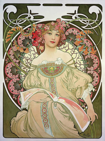 Wall Art - Painting - Dreamy - Digital Remastered Edition by Alfons Maria Mucha
