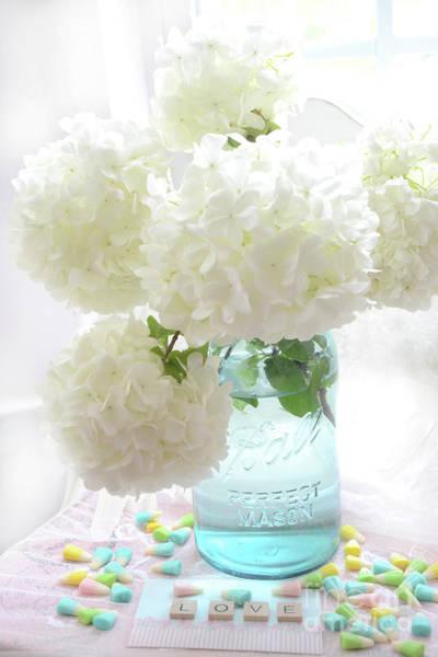 Wall Art - Photograph - Dreamy Ethereal White Hydrangea Flowers In Aqua Blue Mason Jar - Shabby Chic Hydrangeas Floral Print by Kathy Fornal